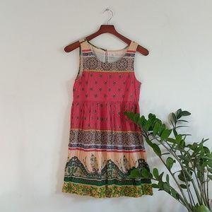 O'Neill red print sleeveless peasant mini dress S